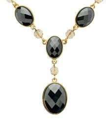 Gold & faceted hematite y necklace
