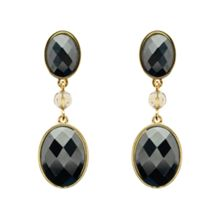 Gold & faceted hematite drop earrings