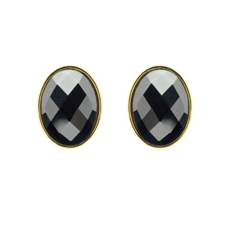Monet Gold & faceted hematite oval earrings