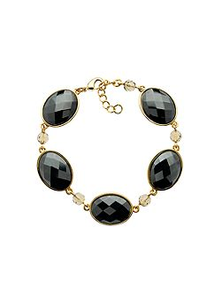 Gold & faceted hematite link bracelet