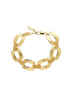 Gold textured open link bracelet