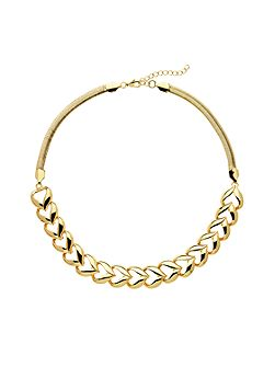 Gold polished heart collar
