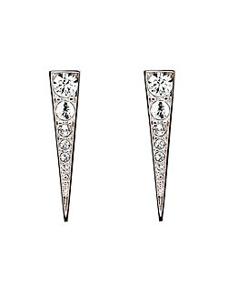 Rhodium crystal arrow earrings