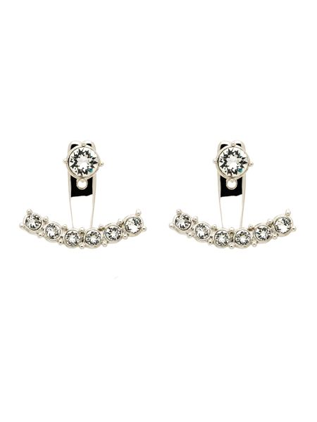 Melissa Odabash Rhodium crystal crescent earrings