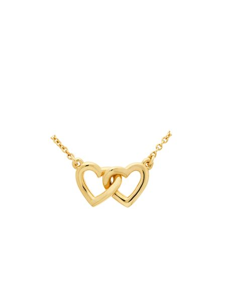 Melissa Odabash Gold crystal double heart necklace