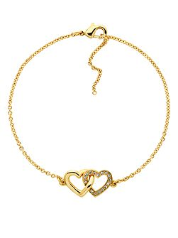 Gold crystal double heart bracelet