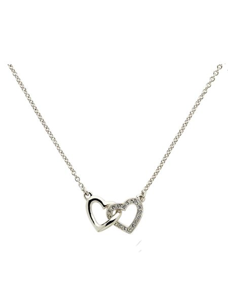 Melissa Odabash Rhodium crystal double heart necklace
