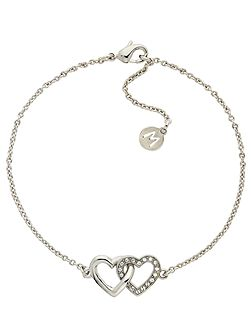 Rhodium crystal double heart bracelet