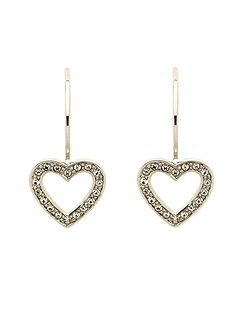 Rhodium crystal heart hook earrings