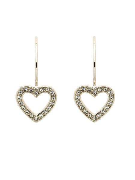 Melissa Odabash Rhodium crystal heart hook earrings