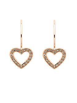 Rose gold crystal heart hook earrings