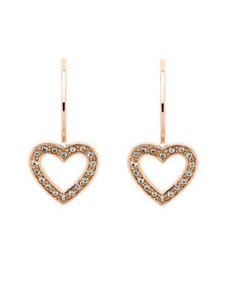 Melissa Odabash Rose gold crystal heart hook earrings
