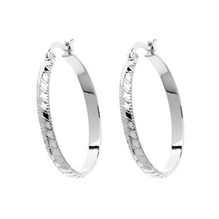 Monet Silver stripe hoop earrings
