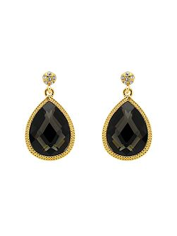 Gold black diamond teardrop earrings