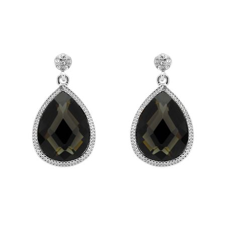 Monet Silver black diamond teardrop earrings