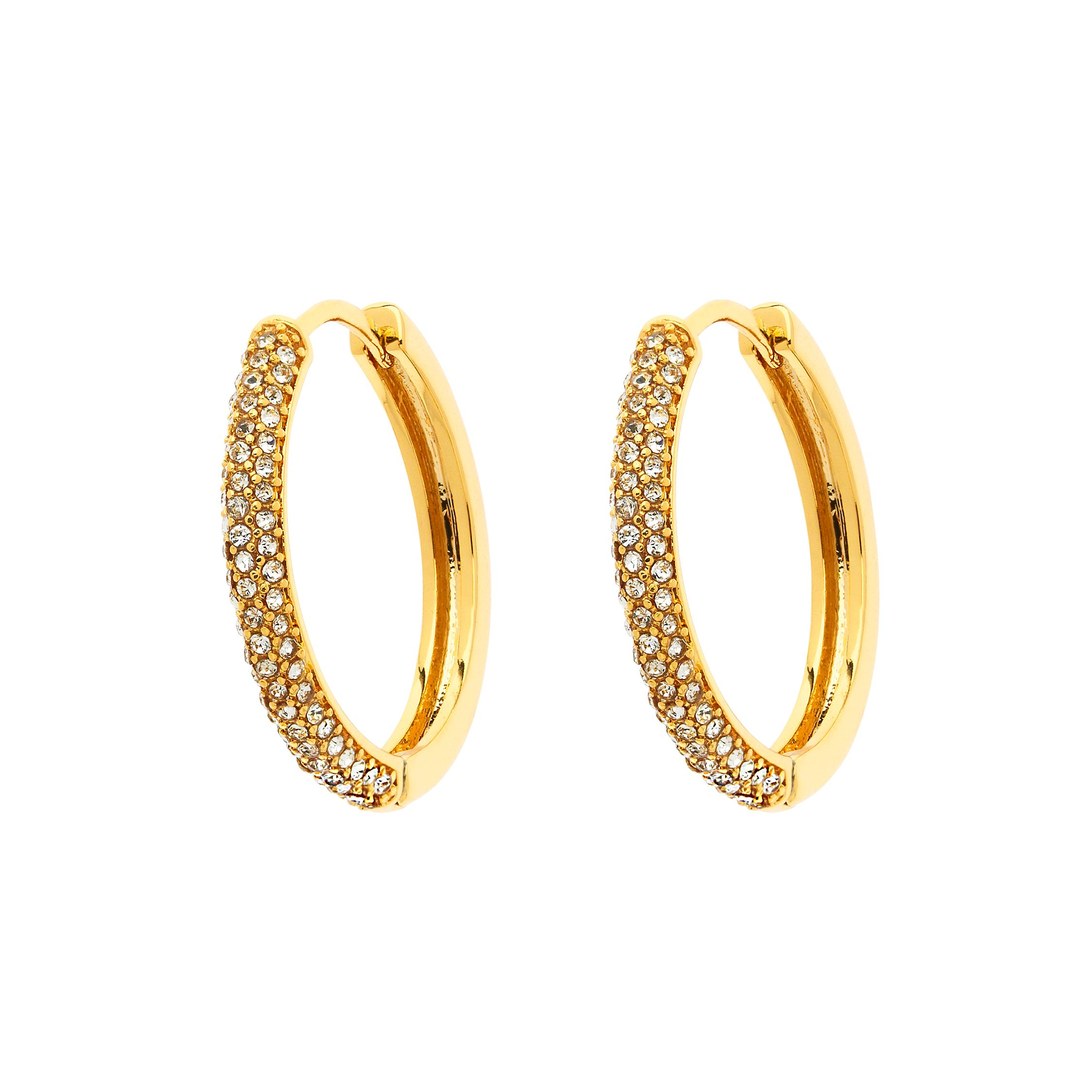 monet gold pavé crystal hoop earrings