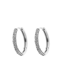 Silver pavé crystal hoop earrings