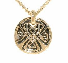 Biba Gold enamel double disc small pendant
