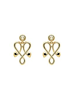 Gold heart crystal emblem earrings