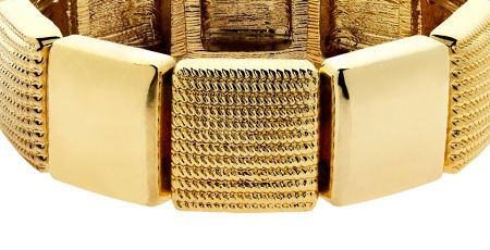 Monet Gold textured squares stretch bracelet
