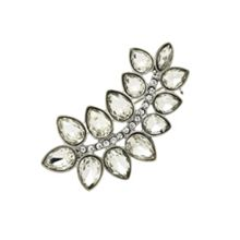 Monet Silver and crystal leaf brooch