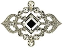 Monet Silver and crystal scroll brooch
