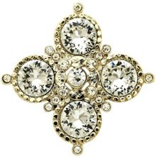 Gold and crystal medal brooch