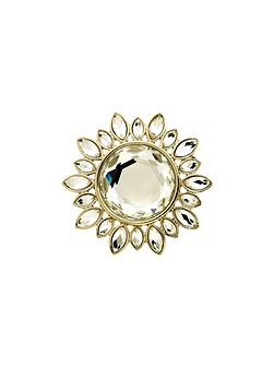 Gold and crystal sunburst brooch