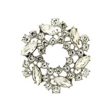 Monet Silver and crystal wreath brooch
