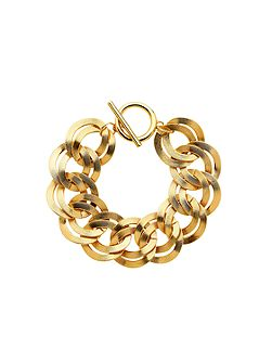 Gold double textured links bracelet