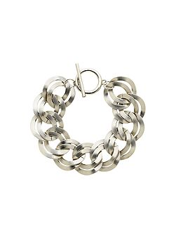 Silver double textured links bracelet
