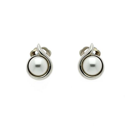 Lilli & Koe Rhodium pearl curl clip earrings