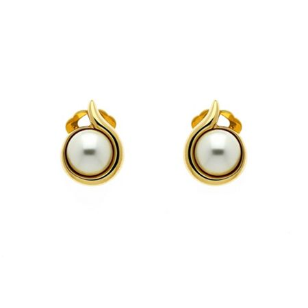 Lilli & Koe Gold pearl curl clip earrings