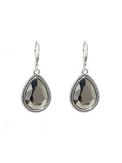 Silver faceted hematite drop earrings