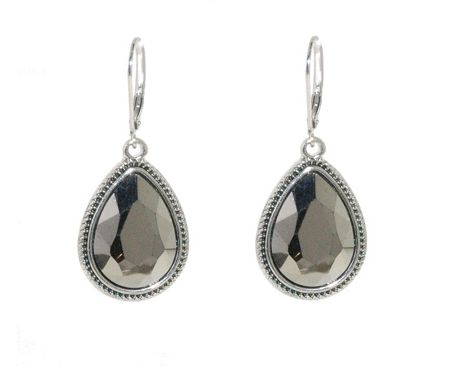 1928 Silver faceted hematite drop earrings