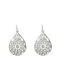 Silver filigree crystal drop earrings