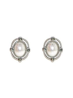 Silver pearl marcasite oval earrings
