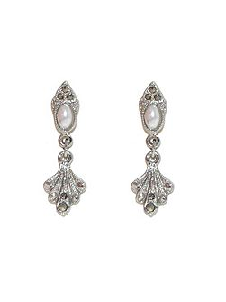 Silver pearl marcasite fan earrings