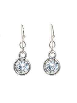 Silver crystal round drop earrings