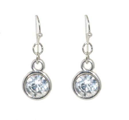 1928 Silver crystal round drop earrings