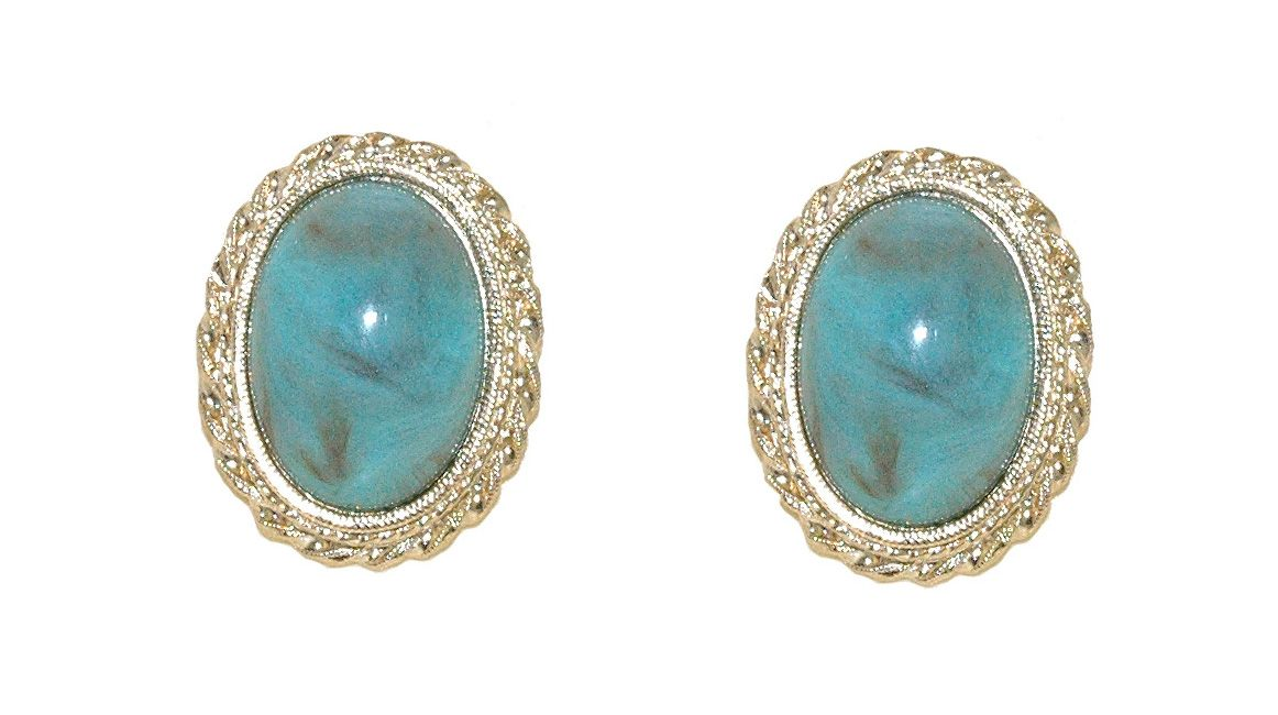 1928 Oval Cabochon Earrings, N/A