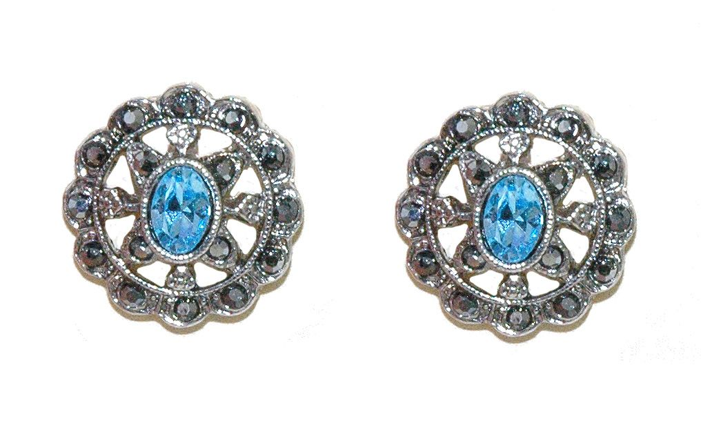 1928 Marcasite Round Earrings, N/A