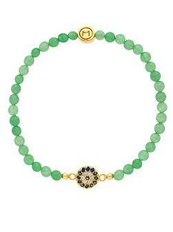 Gold jade crystal evil eye bracelet