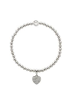 Rhodium crystal heart ball bracelet