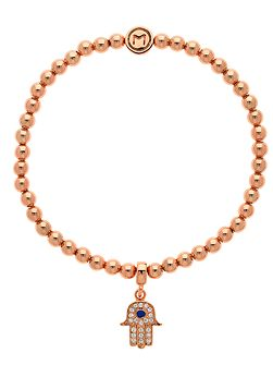 Rose gold crystal hamsa ball bracelet