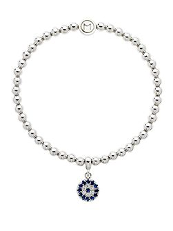 Rhodium crystal evil eye ball bracelet