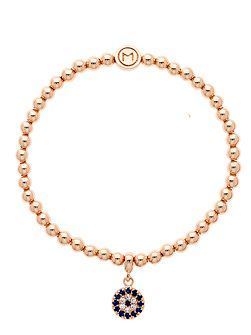 Rose gold crystal evil eye ball bracelet