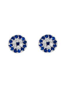 Melissa Odabash Rhodium evil eye crystal stud earrings