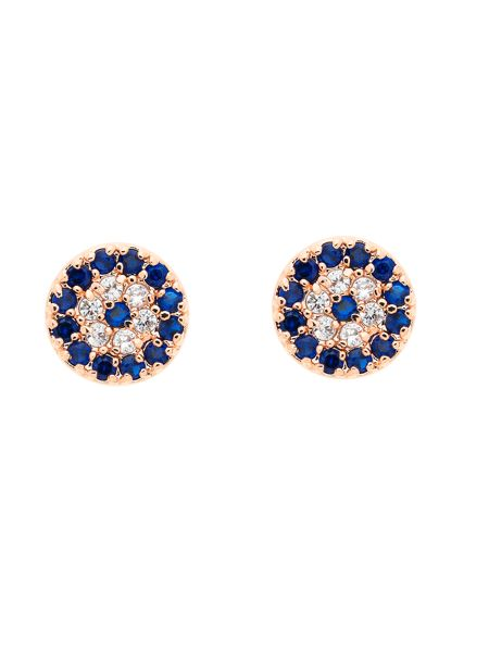 Melissa Odabash Rose gold evil eye crystal stud earrings