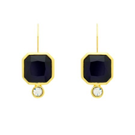Monet Indigo Crystal Leverback Earrings
